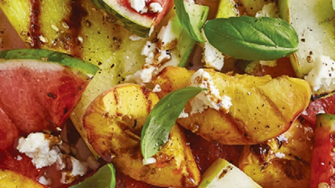 watermelon and peach salad with basil and feta